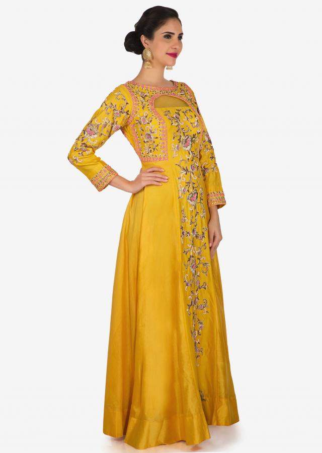 Yellow santoon dress crafted with frenchknots and zardosi embroidery work only on Kalki