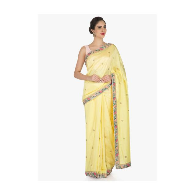 Yellow saree in satin silk decorated with sequin and resham embroidered work only on Kalki