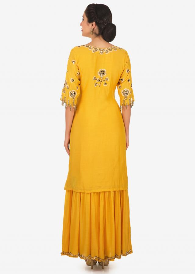 Yellow straight suit in cotton silk with resham and mirror embroidery only on Kalki