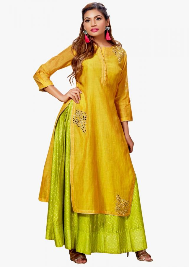 Yellow straight suit with green under layer in mirror embroidery