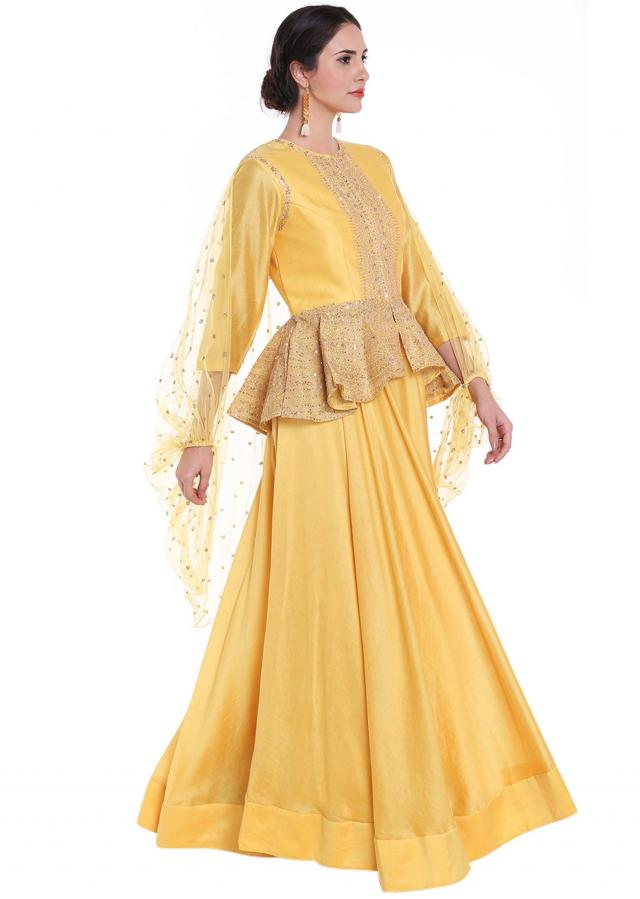 Vibrant yellow lehenga with sequin embroidered peplum top only on Kalki
