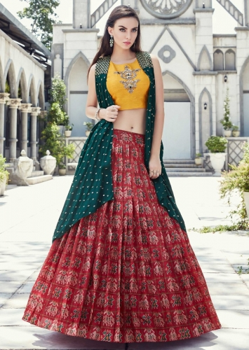 79a8346aa678 Cherry Red Lehenga In Ikkat Motif Print Matched With Yellow Crop Top Blouse  And Rama Green