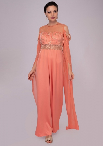 aa8a011ee3d Sandstone pink jumpsuit with cold shoulder flared sleeves only on Kalki
