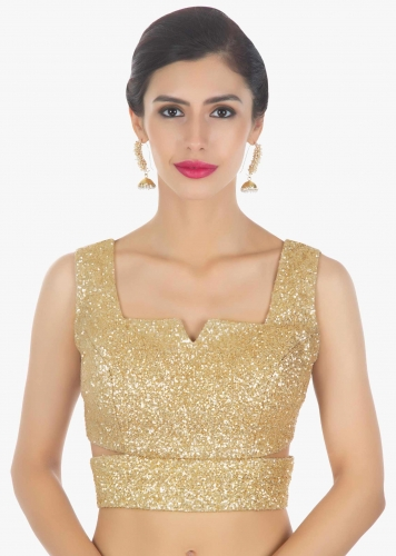 5ba676829e9c31 Golden sequins blouse with side cut outs only on Kalki
