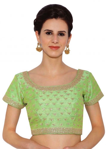 863b0997bbc3a Parrot Green Raw Silk Blouse With Sequin Embroidery only on Kalki