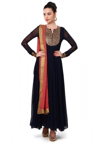 9e00a779d77 Navy blue anarkali suit features with embellished neckline only on Kalki