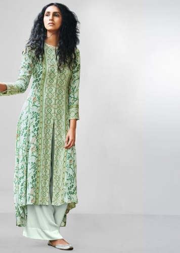 3981b02542f Sea green floral printed palazzo suit with center panel embroider and front  slit only on Kalki