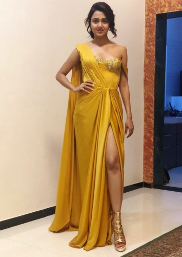 42fa068122a8fa Mustard gown with corset embroidered bodice and high slit only on Kalki