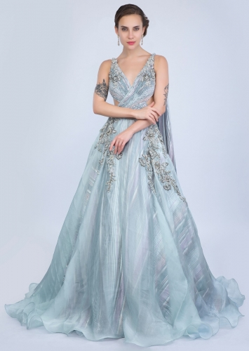 d5d261bd1aa Aqua blue organza gown with over lapping ruching bodice only on Kalki
