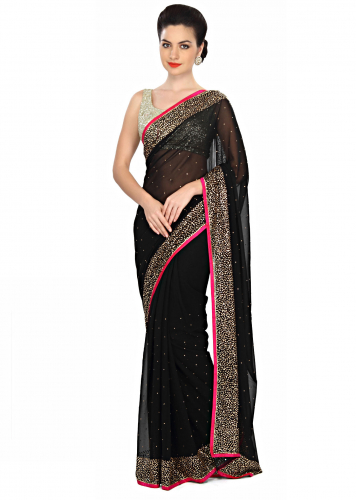 44e0503de8 Haute black saree embellished in kundan embroidery only on Kalki