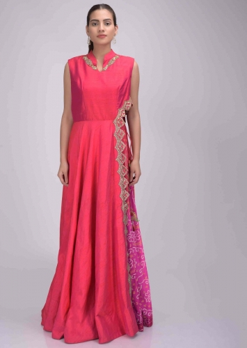 73d82a8ded Coral pink two toned raw silk dress with bandhej chiffon inner only on Kalki