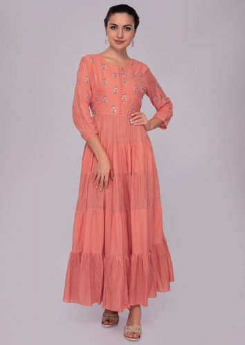 e7a1e3f90a017 Coral rose cotton tunic dress with resham butti bodice only on Kalki