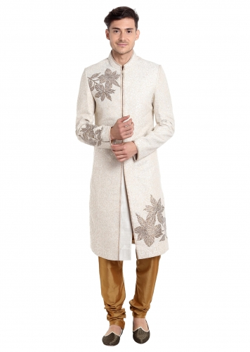 16b90c12a5 Cream Silk Sherwani Enhanced with Thread Work and Sequins Only on Kalki