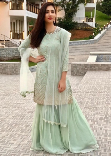 2d852d7522 Disha Parmar in Kalki mint green embroidered sharara suit set