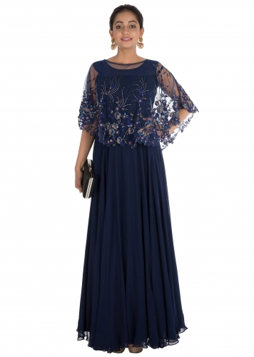 0e4093e381cf8 Floral Hand Embroidered Midnight Blue Cape Gown