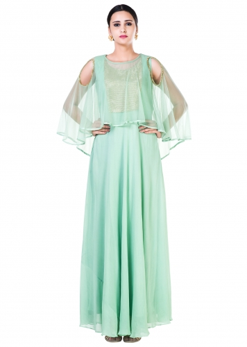 7981f94a08faf Green Sequin work Cold Shoulder Cape Style Gown