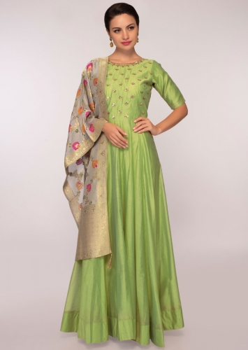 68b32602a51 Green chanderi cotton silk anarkali dress paired with grey weaved dupatta  only o...$143