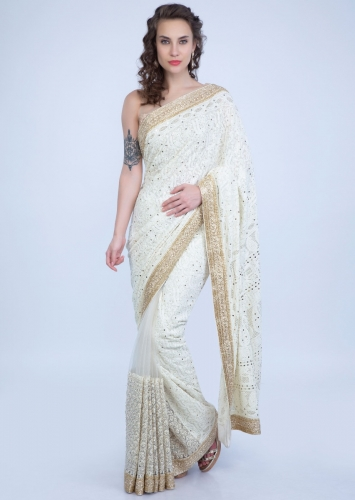 3d34416a695 Half and half ivory saree featuring in lucknowi and net only on Kalki