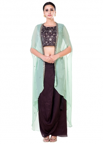a8b8cba898a Hand Embroidered Brown and Green Cape Crop Top and Brown Draped Skirt Set