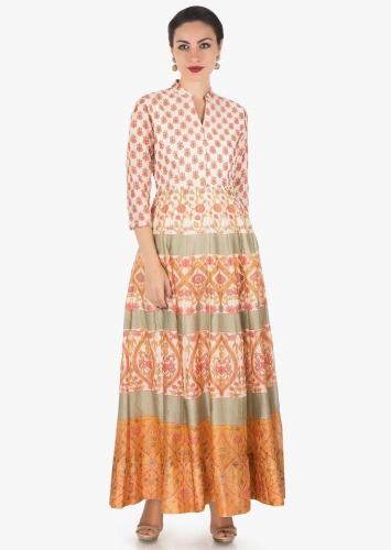 623c17052b Ivory dress in cotton silk with pink and mustard floral print only on Kalki