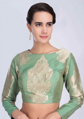 2d3df1ae80a182 Jade green high neck broacde silk blouse with full sleeves only on Kalki