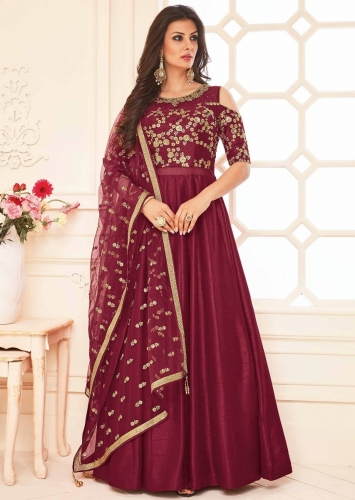 9e36a0fc612 Maroon anarkali suit in raw silk with cold shoulder in zari and kundan  embroidered