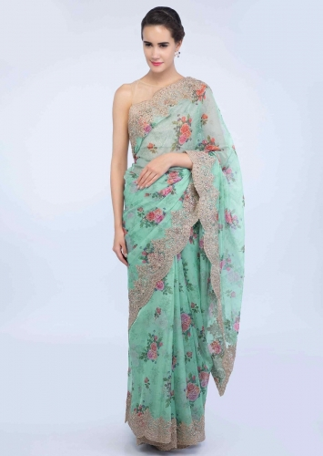 87e47b5e4d2 Mint green scallop embroidered organza saree with floral printed butti only  on Kalki