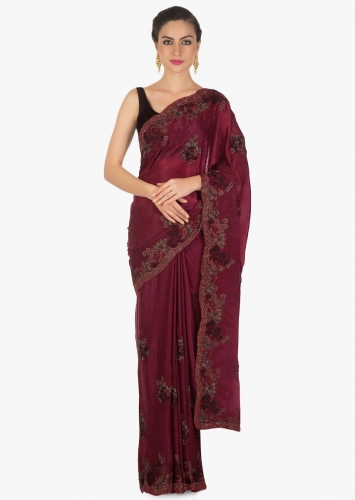 b9ace47fbc1c0c Mulberry purple saree adorn in resham and moti embroidered butti and border  only on Kalki