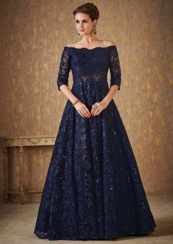 ef8e3ca12f4 Navy blue off shoulder gown adorn in embossed thread and sequin embroidery