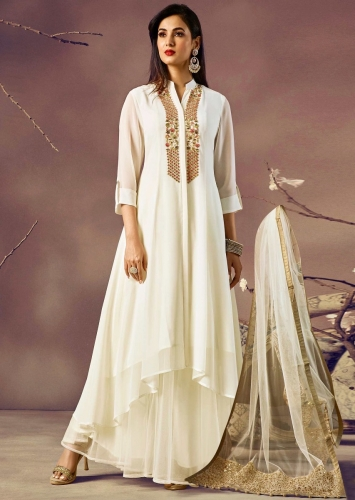 56e2ea28156a6 Off white kurti with front short and back long in resham embroidered placket