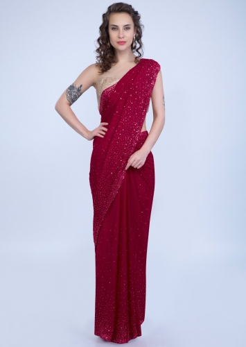 cbfcc58da8 Pearls and sequins studded cherry red crepe saree only on Kalki