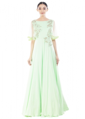 ff6e30ccbb2f8 Pistachio Green Cape Sleeves Gown