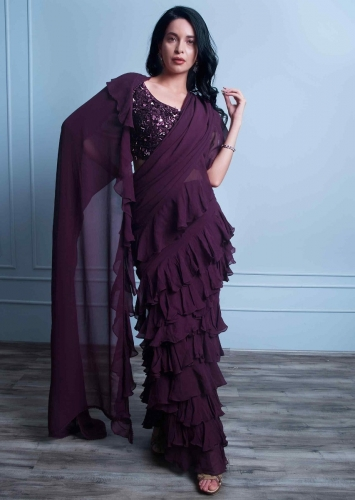 6af476897edd Plum georgette saree with ruffled hem and pallo only on Kalki