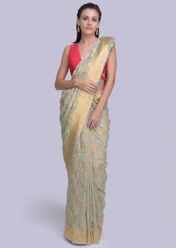 133404fc1b Powder blue georgette saree with rich weaved jaal work only on Kalki