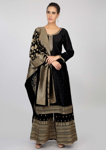9a4f14fc9ebe Black palazzo suit set with golden weaved and zari embroidery only on kalki