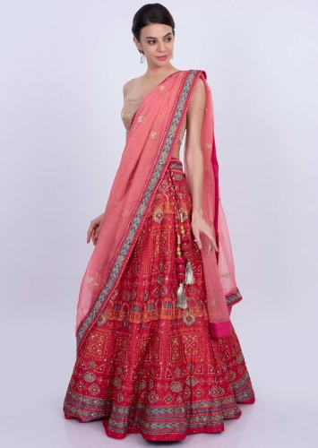 6c6aed3e50 Red cotton silk printed lehenga with contrasting peach organza dupatta only  on Kalki