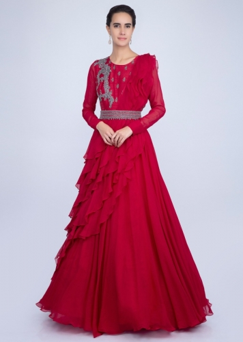 35f58b98ea8686 Red gown with an embellished belt and a wrap around in frilled layer only  on Kalki