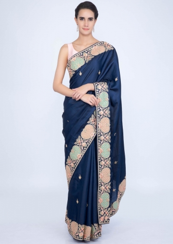 ad401c8c94 Royal blue silk saree with embroidered butti and border only on Kalki