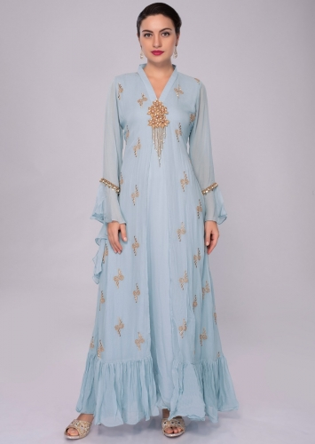 6347b558f8b9 Sky blue georgette tunic dress with additional stitched top layer with  floral patch work only on